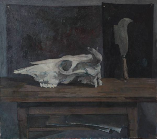 Fedor Elizarov - Still life with skull and knife