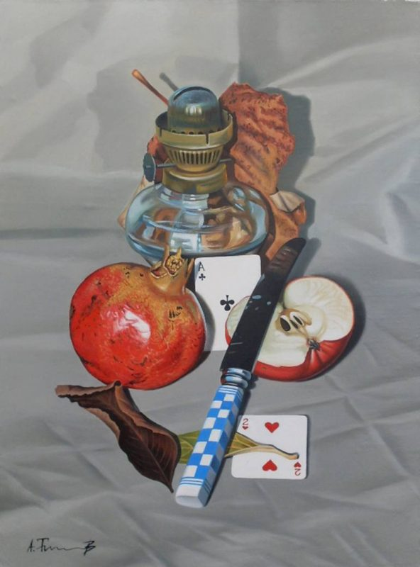 Alexander Titorenkov - Still life with pomegranate and knife