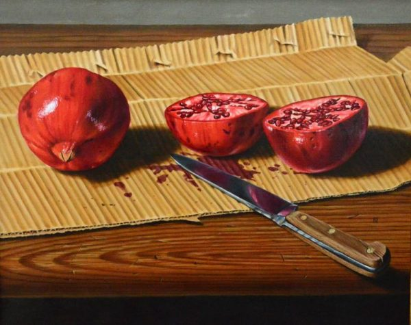 Duane Nickerson - Pomegranate and Knife Painting