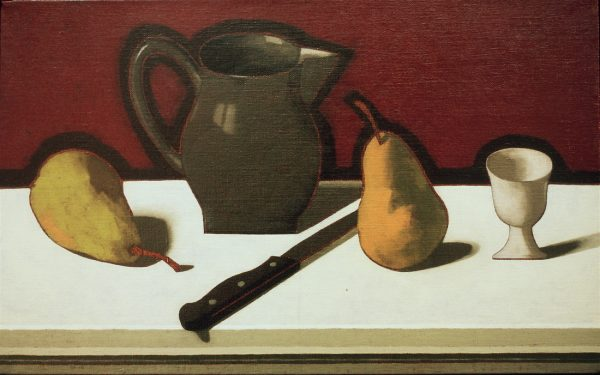 Charlotte Andry Gibbs - Still life with Pewter Pitcher, Pears, Knife, and Egg Cup