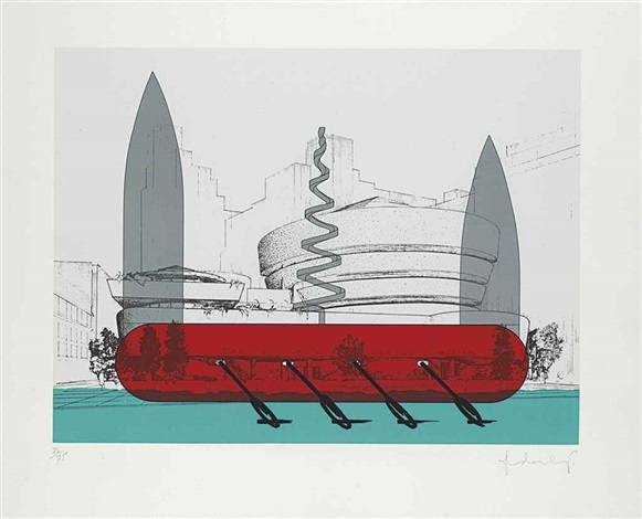 Claes Oldenburg - Knife Ship Superimposed Over The Guggenheim Museum, 1986
