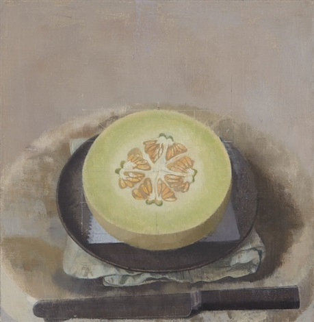 Susan Jane Walp - Melon Sliced Open on a Black Plate with Knife, 2015