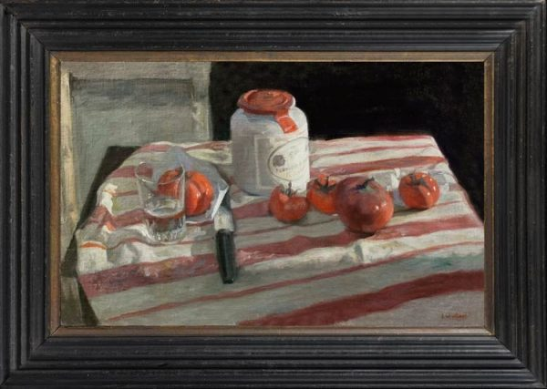 GEORGE WEISSBORT (1928-2013) Still life with mustard jar, tomatoes, knife and glass on a striped tablecloth